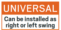 Universal: Can be installed as right or left swing